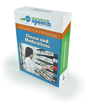 Speech Theraphy Flash Cards Pictures of Progress Illness & Medications Box